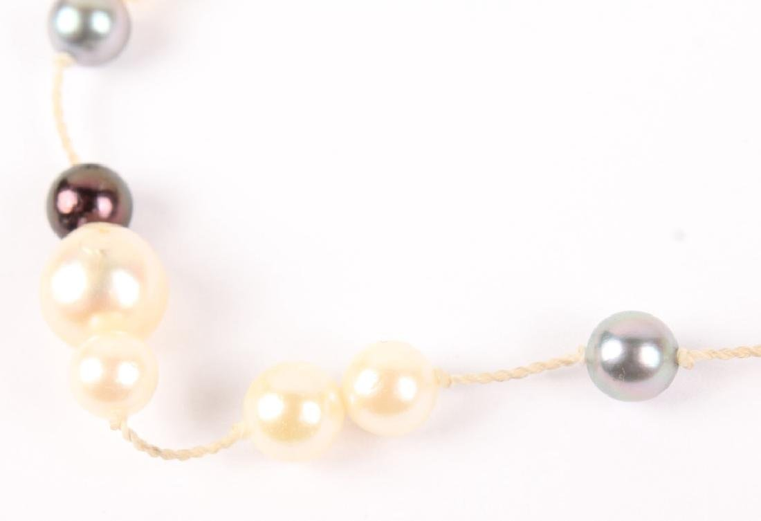 LADIES BLACK & WHITE PEARL 14K GOLD NECKLACE - 2