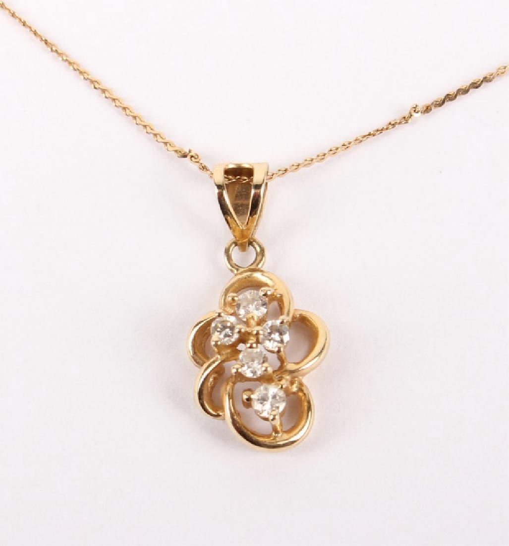 LADIES 14K YELLOW GOLD DIAMOND NECKLACE