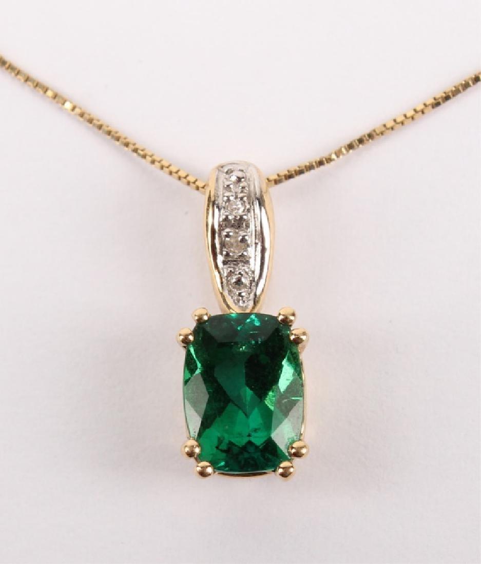 LADIES 14K YELLOW GOLD DIAMOND EMERALD NECKLACE