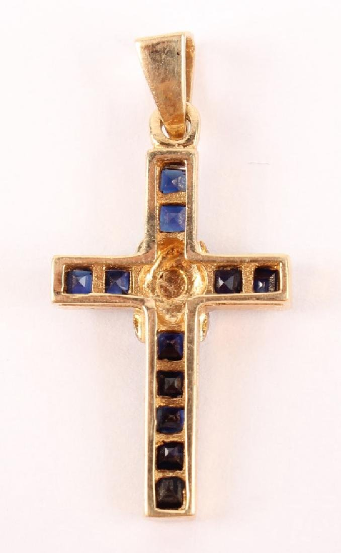 14K YELLOW GOLD SAPPHIRE DIAMOND CROSS PENDANT - 2