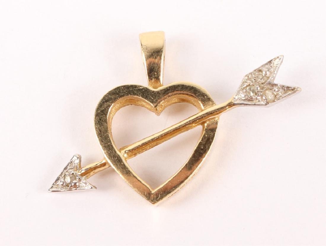 14K BICOLOR GOLD DIAMOND HEART ARROW PENDANT