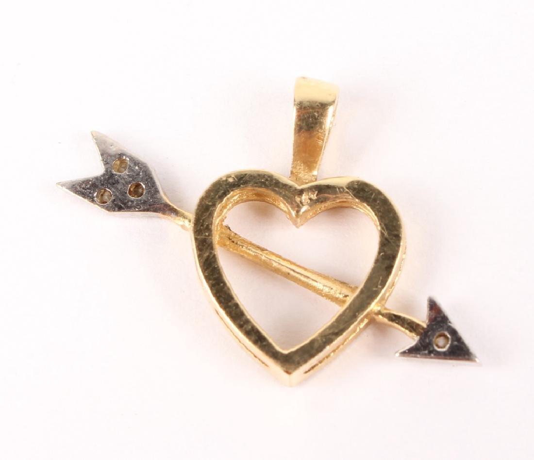 14K BICOLOR GOLD DIAMOND HEART ARROW PENDANT - 2