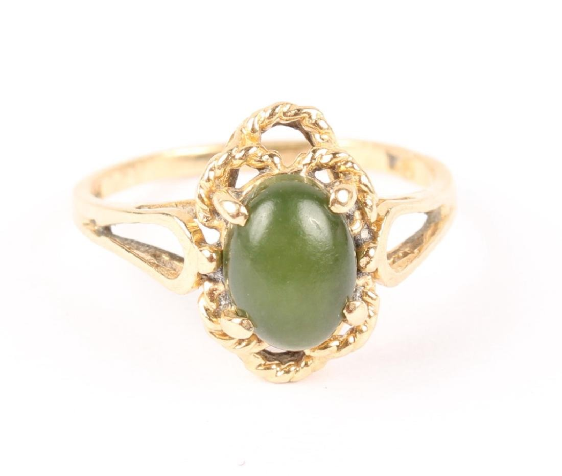 LADIES 10K GOLD JADE RING