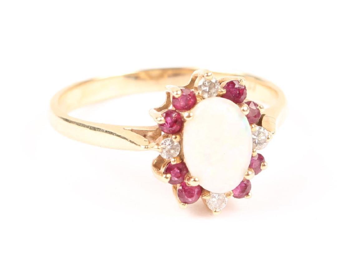 LADIES 10K YELLOW GOLD OPAL GARNET DIAMOND RING