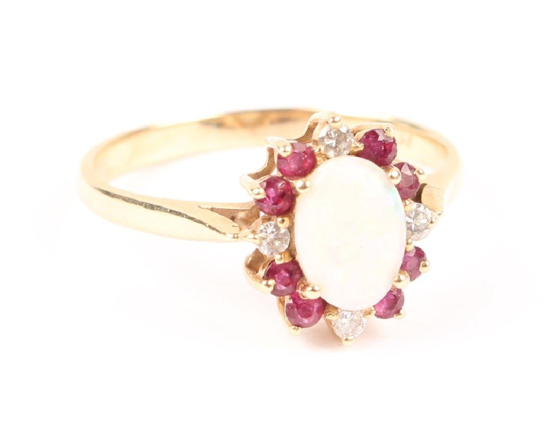 LADIES 10K YELLOW GOLD OPAL GARNET DIAMOND RING