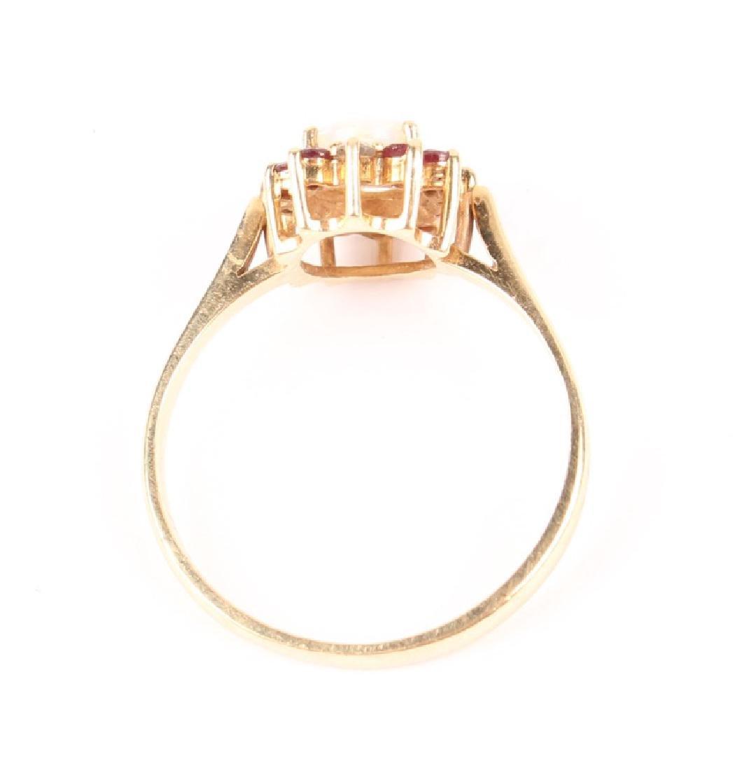 LADIES 10K YELLOW GOLD OPAL GARNET DIAMOND RING - 3