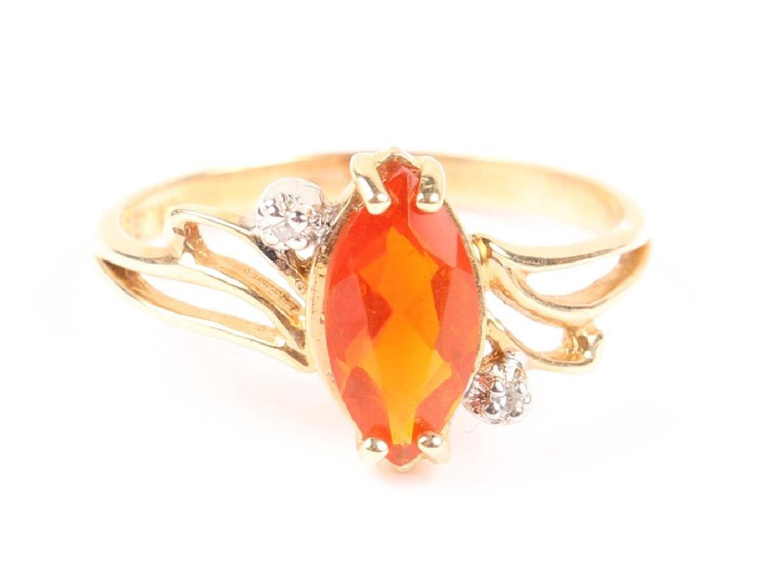 LADIES 10K YELLOW GOLD DIAMOND CITRINE RING