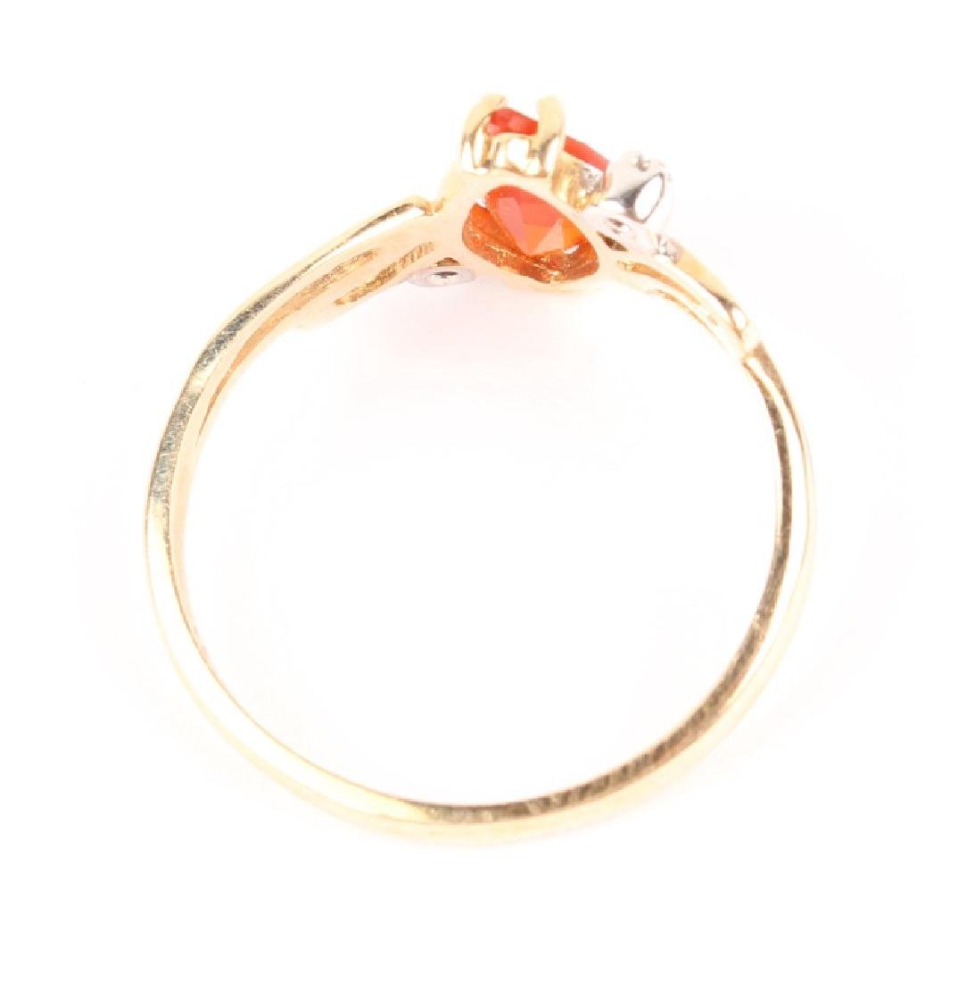 LADIES 10K YELLOW GOLD DIAMOND CITRINE RING - 3