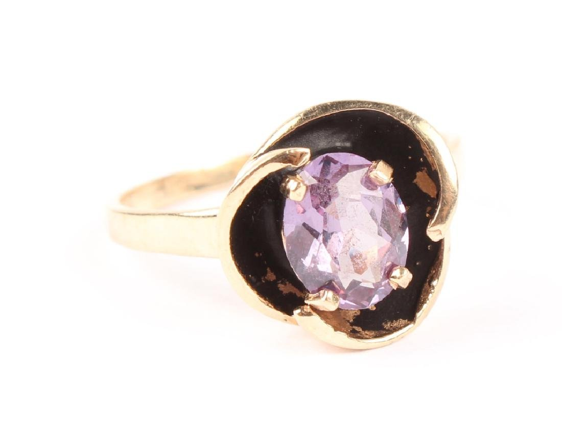 LADIES 10K GOLD SYNTHETIC ALEXANDRITE RING