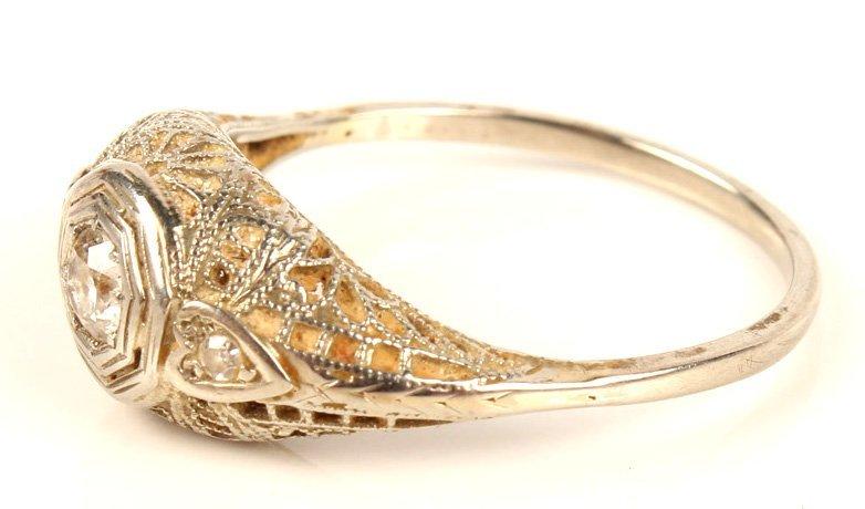 ANTIQUE LADIES 14K WHITE GOLD DIAMOND WEDDING RING - 3