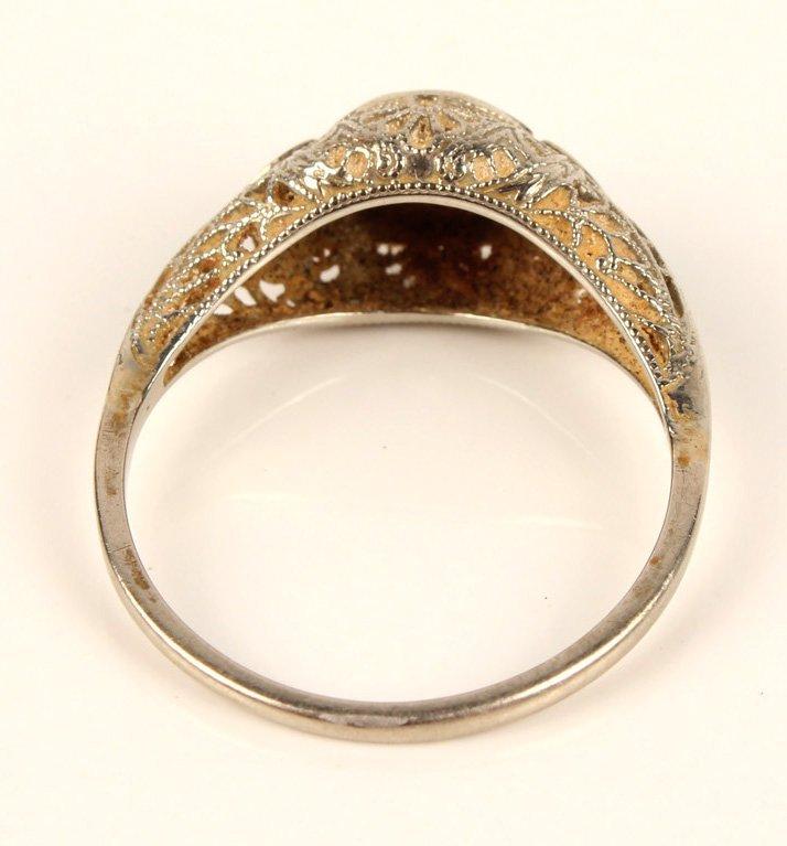 ANTIQUE LADIES 14K WHITE GOLD DIAMOND WEDDING RING - 4