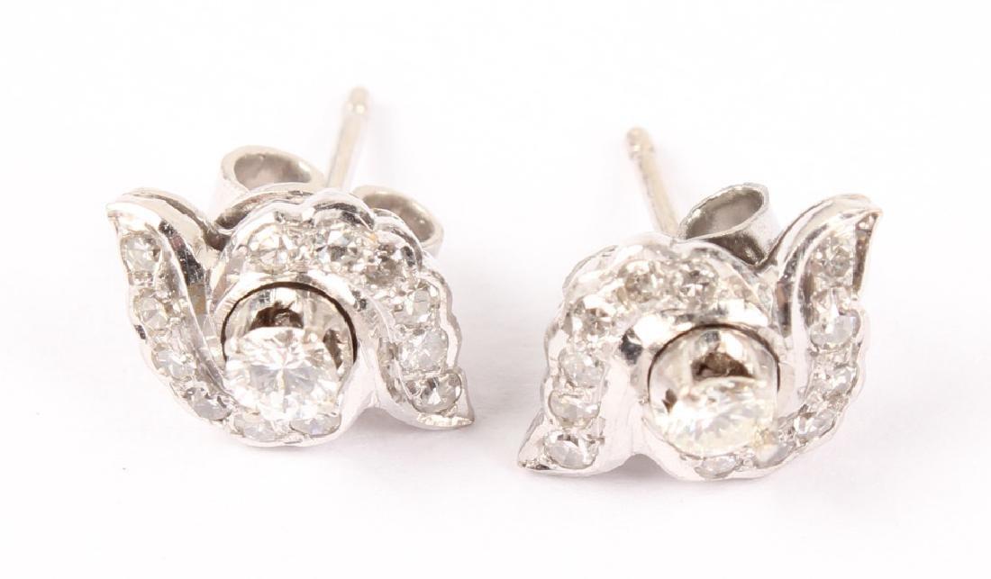 LADIES 14K WHITE GOLD DIAMOND EARRINGS