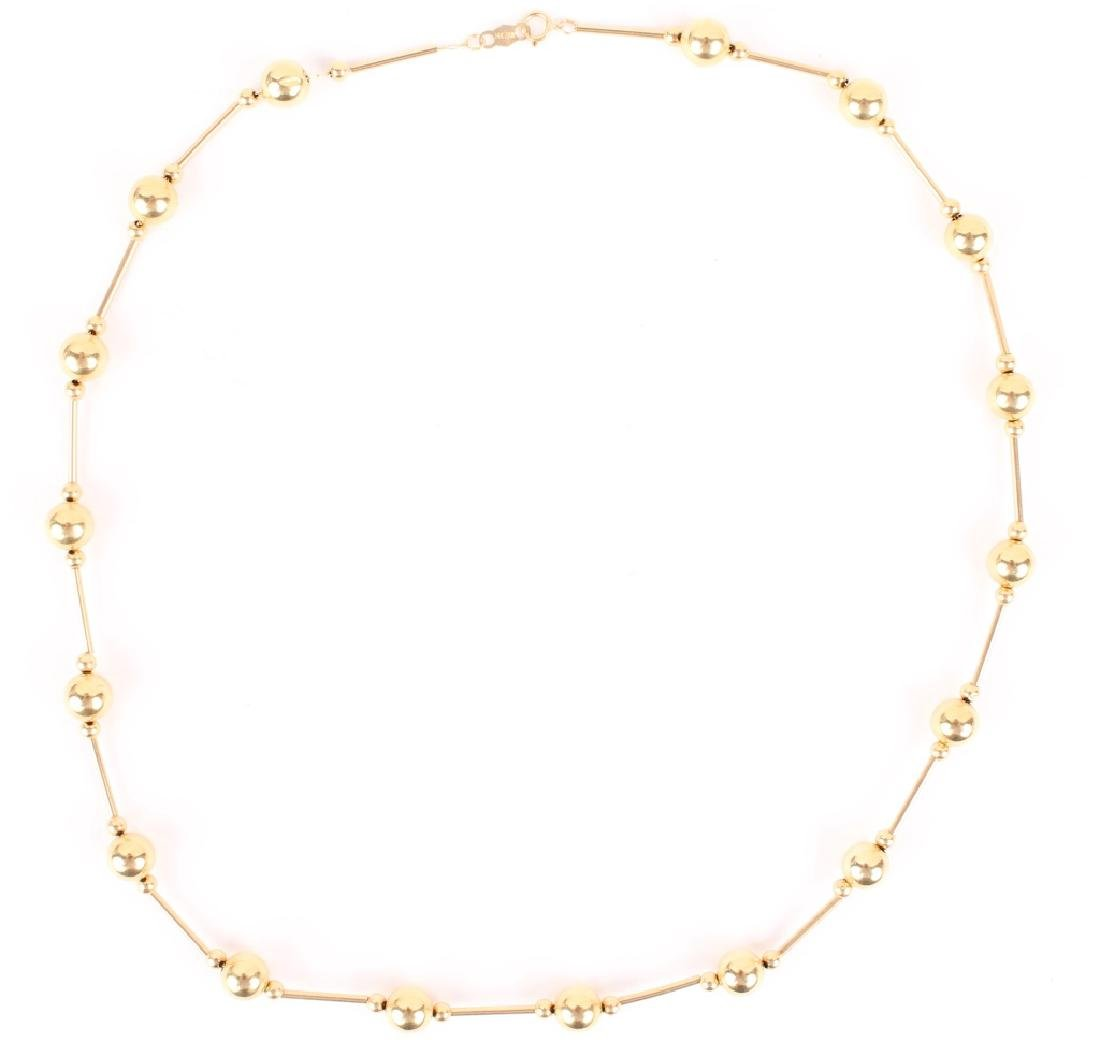 LADIES 14K YELLOW GOLD BALL LINK NECKLACE