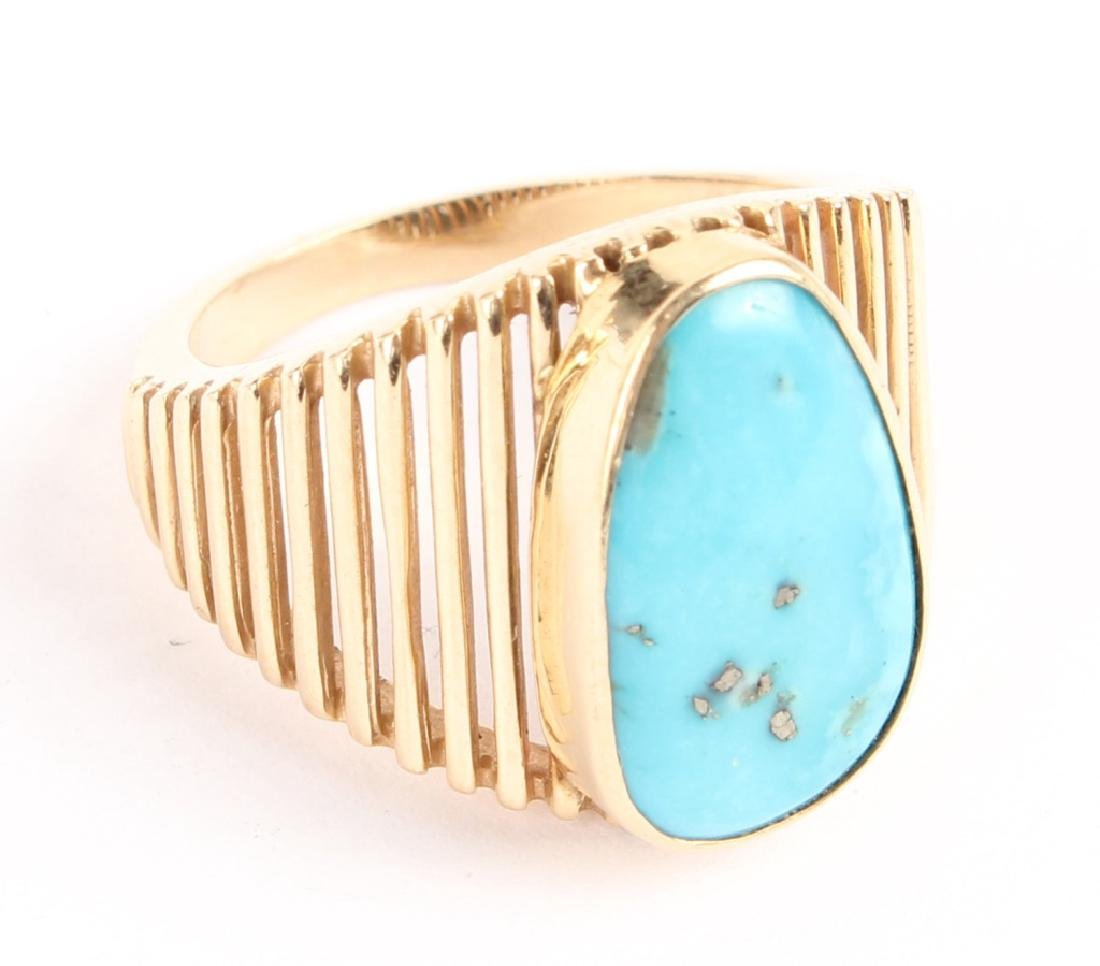 LADIES 14K YELLOW GOLD TURQUOISE FASHION RING