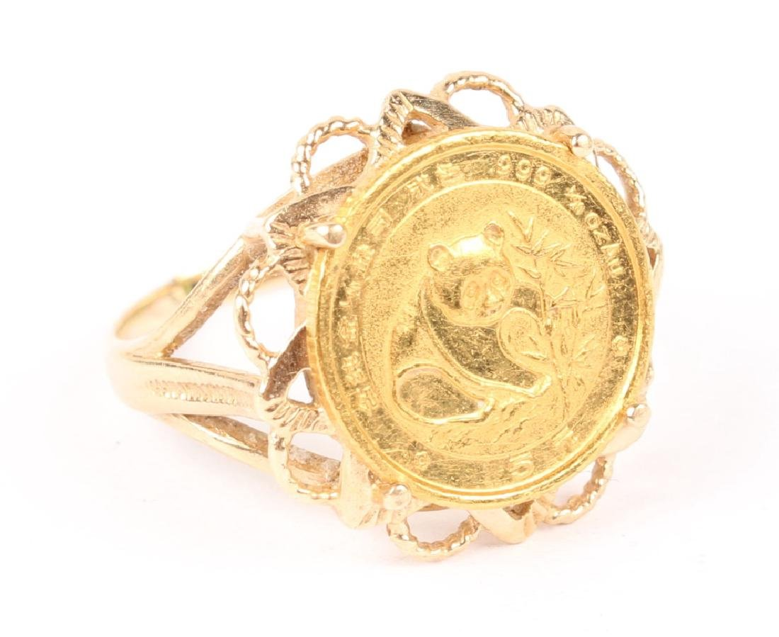 CHINESE 1/20 .999 GOLD PANDA  COIN IN 14K RING