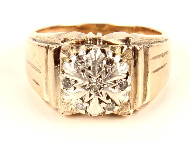 14K YELLOW GOLD DIAMOND FASHION RING - 5