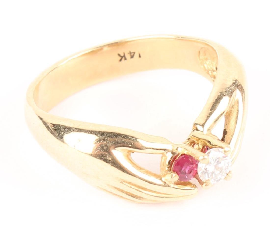 14K YELLOW GOLD DIAMOND RUBY FASHION RING