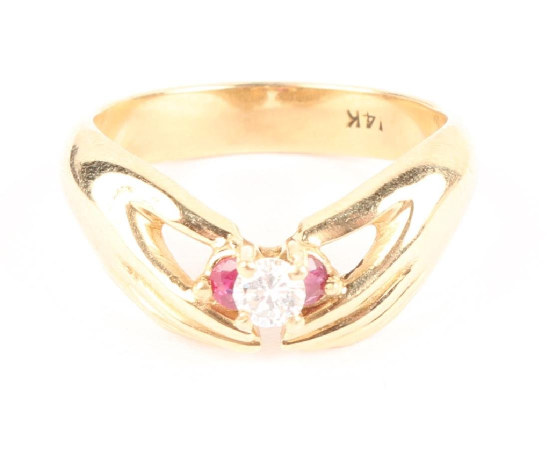 14K YELLOW GOLD DIAMOND RUBY FASHION RING - 2