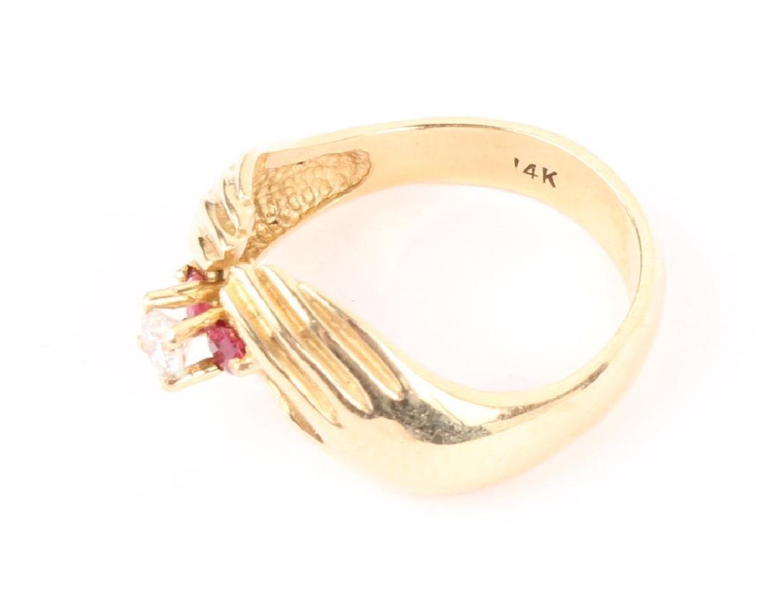 14K YELLOW GOLD DIAMOND RUBY FASHION RING - 3