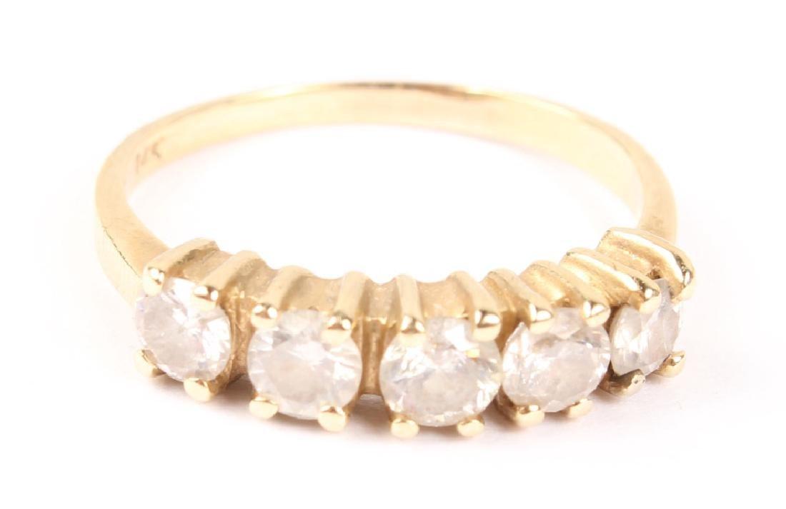LADIES 14K YELLOW GOLD DIAMOND WEDDING BAND