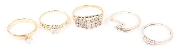 LOT OF 5 DIAMOND 10K & 14K GOLD FASHION RINGS