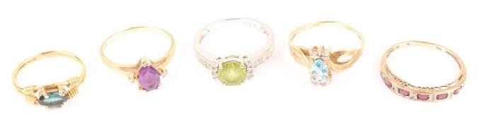LOT OF 5 LADIES 10K  14K GOLD COLORED STONE RINGS