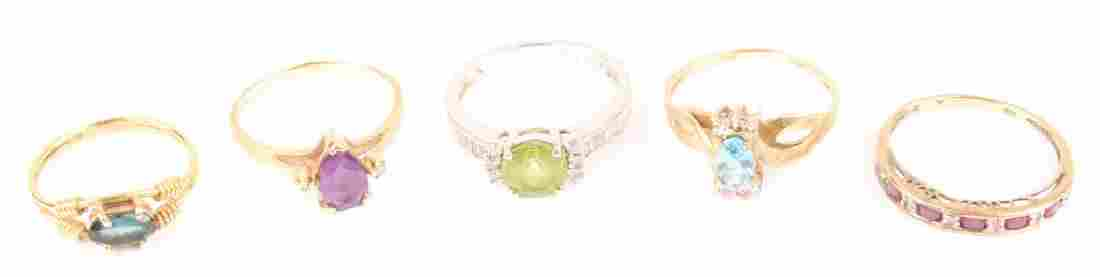 LOT OF 5 LADIES 10K & 14K GOLD COLORED STONE RINGS