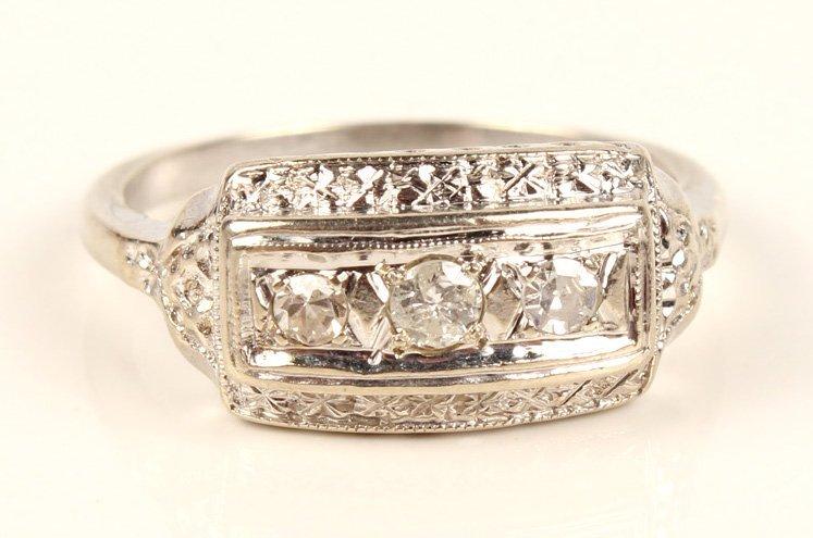 LADIES ANTIQUE PLATINUM DIAMOND FASHION RING - 2