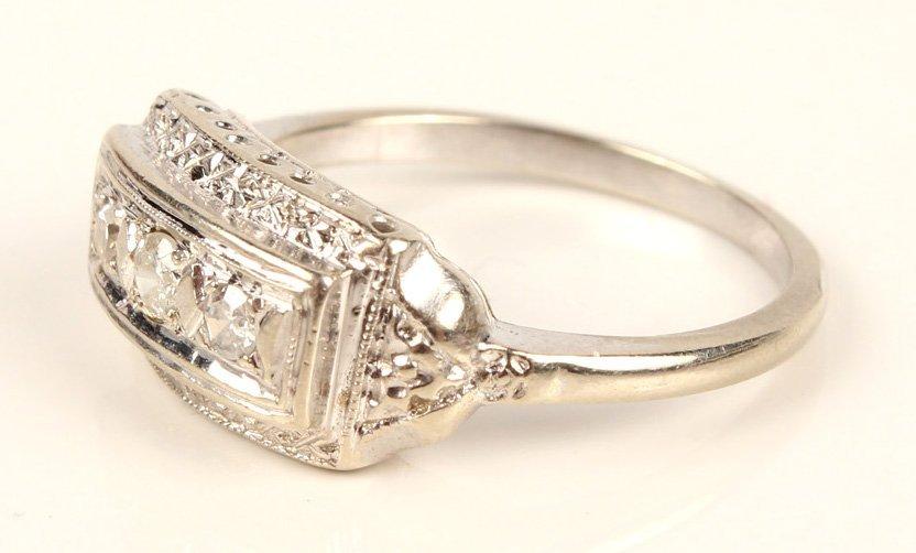 LADIES ANTIQUE PLATINUM DIAMOND FASHION RING - 3