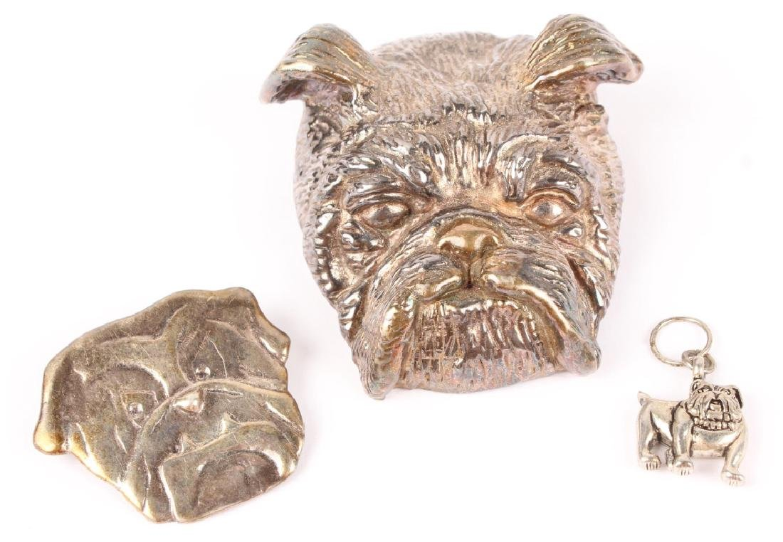 3 STERLING SILVER BULL DOG BROOCHES PENDANT