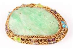 CHINESE JADE BROOCH 14K GOLD VERMEIL EARLY 20TH C.