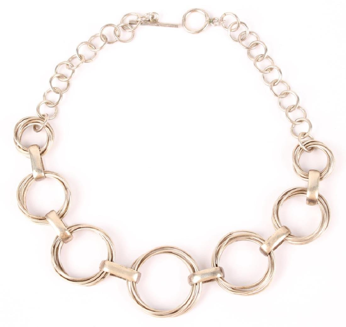 STERLING SILVER GATHERED RING NECKLACE