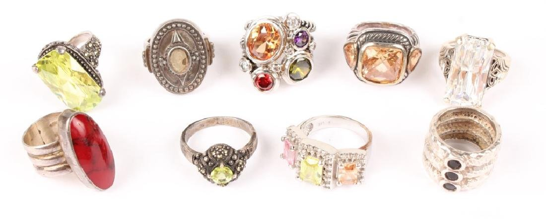 9 STERLING SILVER FASHION COCKTAIL RINGS