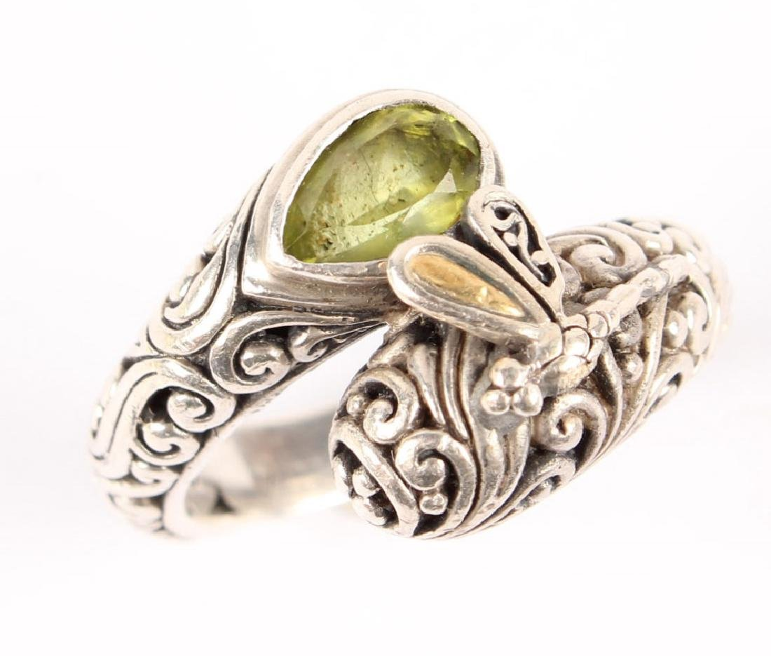 LADIES P&G 18K GOLD & STERLING SILVER PERIDOT RING