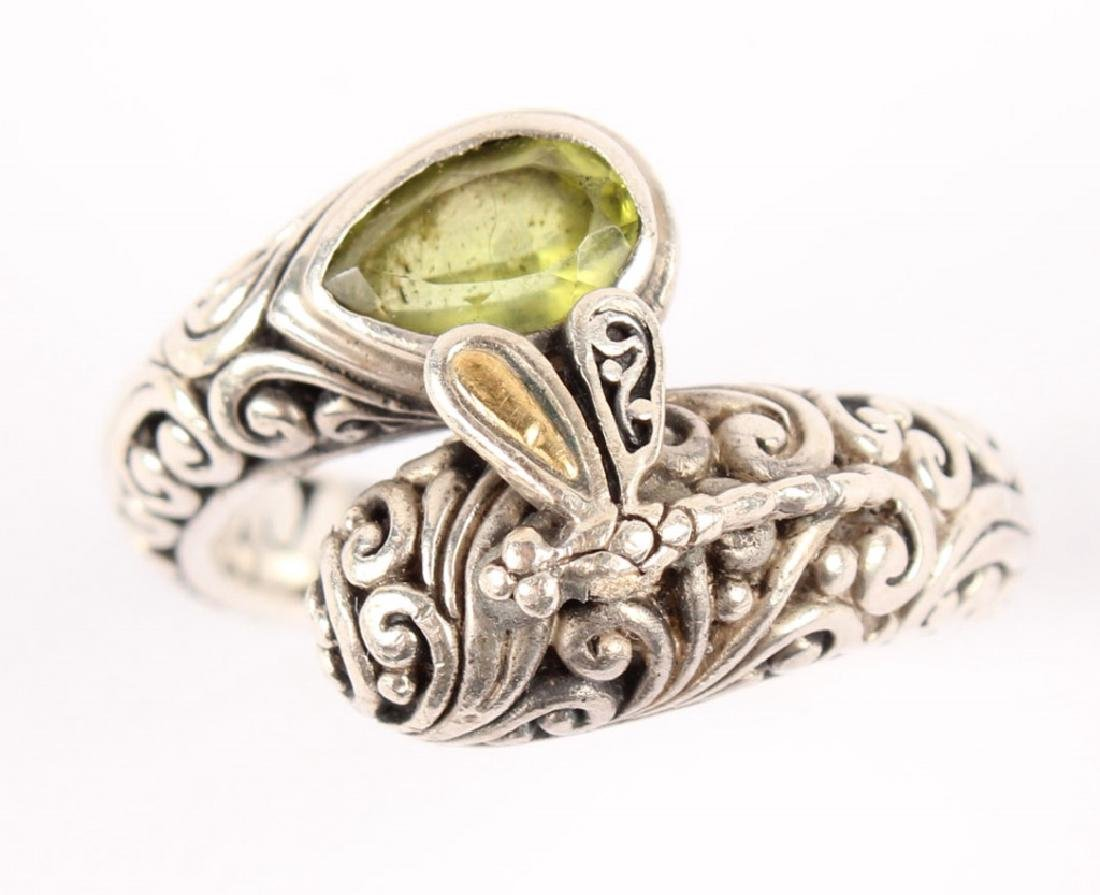 LADIES P&G 18K GOLD & STERLING SILVER PERIDOT RING - 2