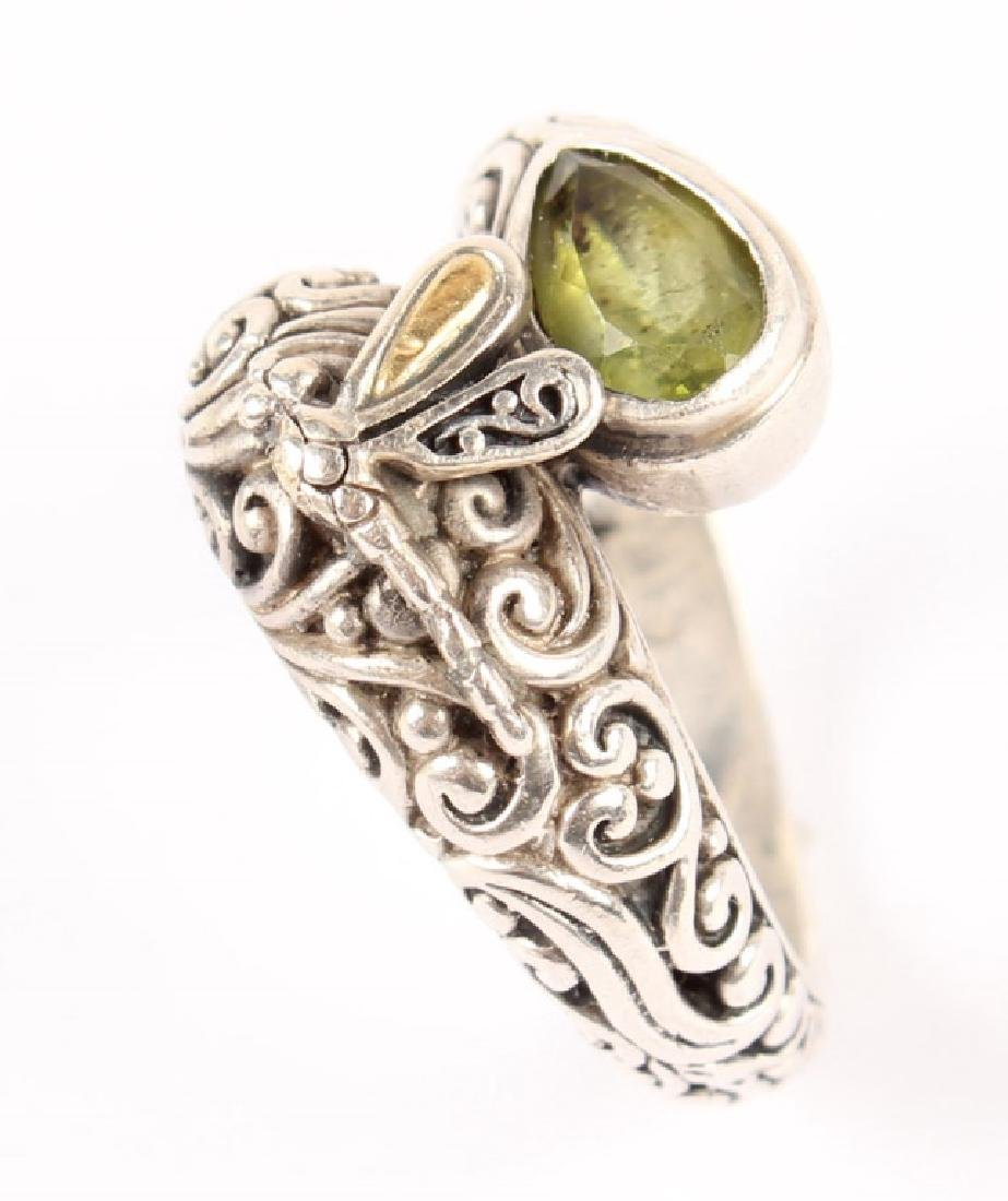 LADIES P&G 18K GOLD & STERLING SILVER PERIDOT RING - 3