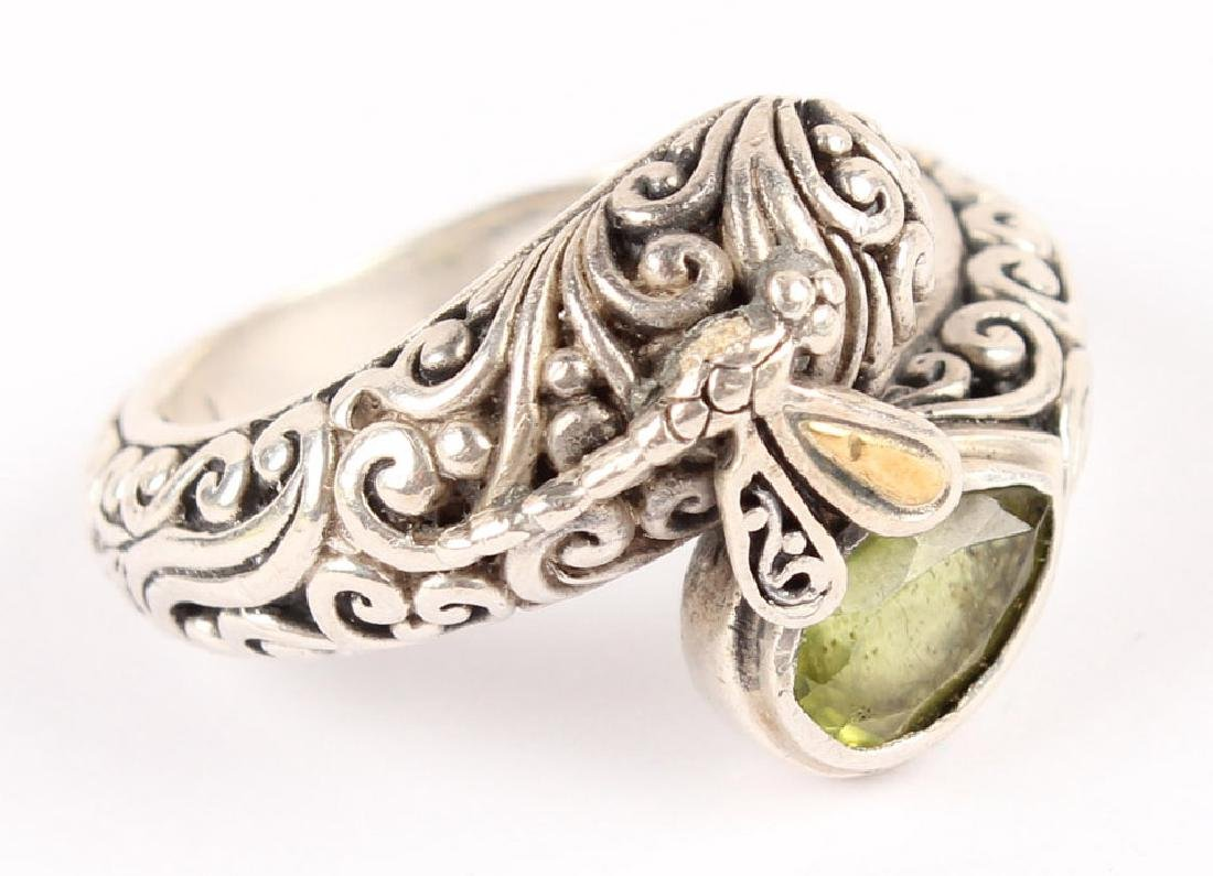 LADIES P&G 18K GOLD & STERLING SILVER PERIDOT RING - 4