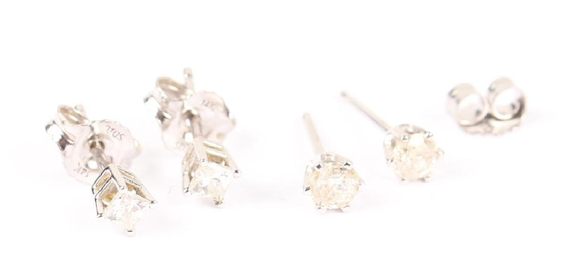 TWO PAIRS OF 14K WHITE GOLD DIAMOND STUD EARRINGS