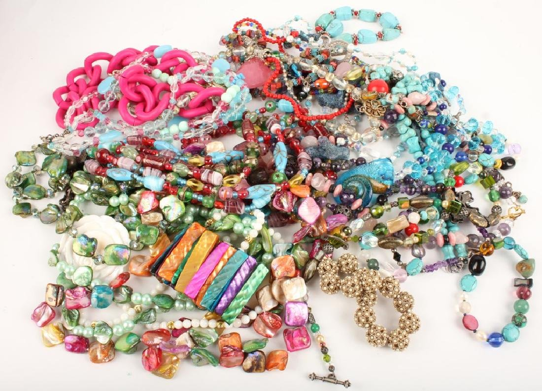 COSTUME JEWELRY GLASS STONE SHELL NECKLACES & MORE