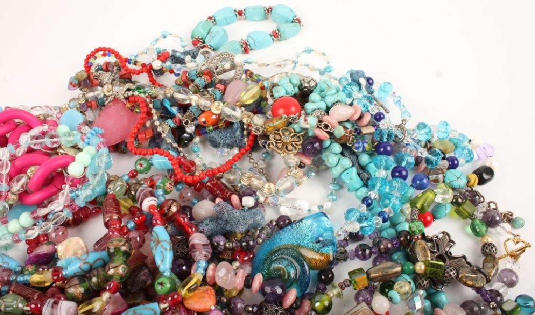 COSTUME JEWELRY GLASS STONE SHELL NECKLACES & MORE - 3