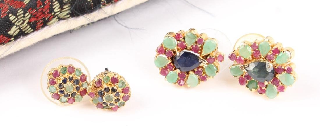 (2) LADIES GOLD PLATED MULTICOLOR STONE EARRINGS
