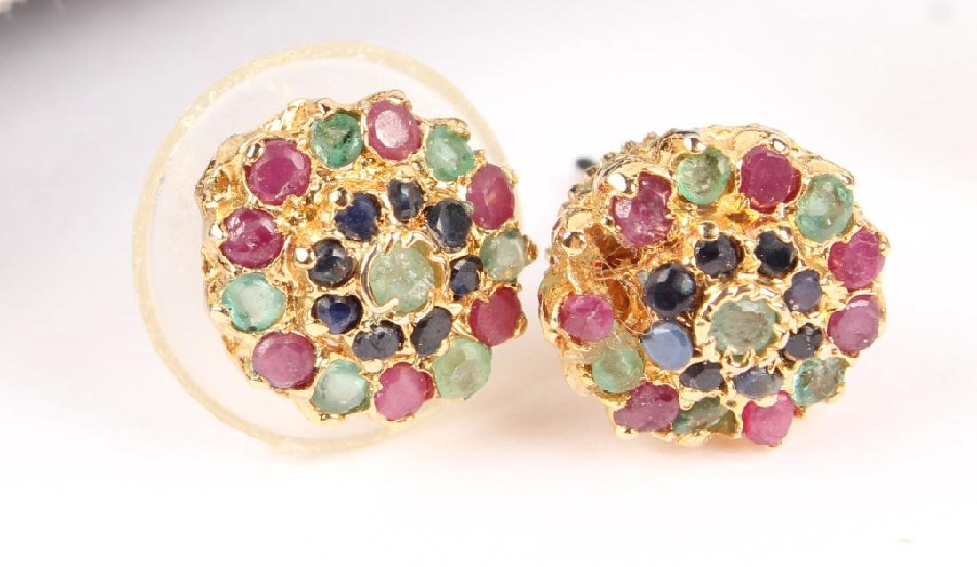 (2) LADIES GOLD PLATED MULTICOLOR STONE EARRINGS - 2