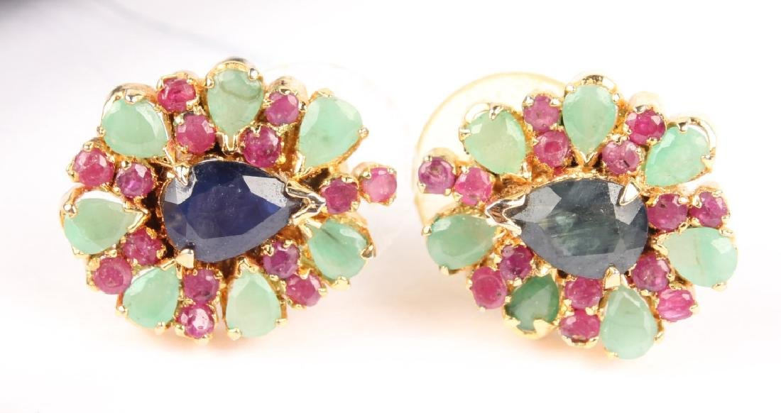 (2) LADIES GOLD PLATED MULTICOLOR STONE EARRINGS - 3
