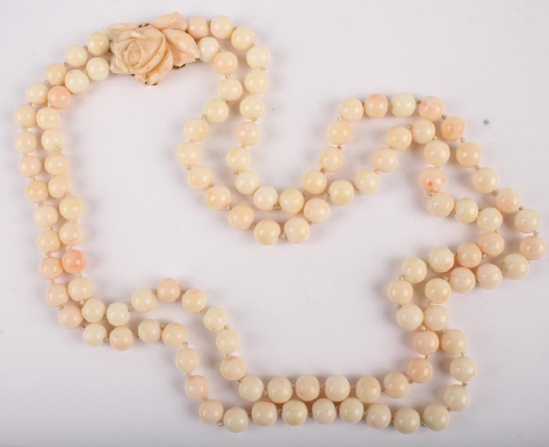 LADIES PINK CORAL ROSE PENDANT BEADED NECKLACE