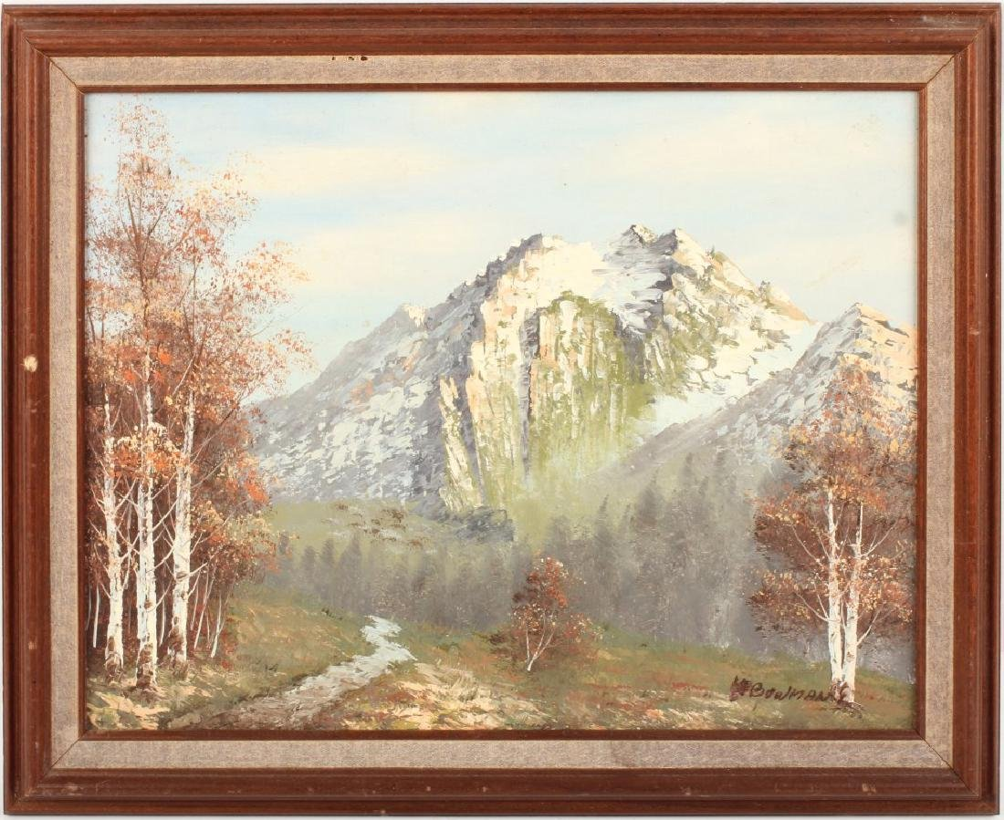 OIL ON CANVAS RUSTIC MOUNTAIN SCENE BOWMAN