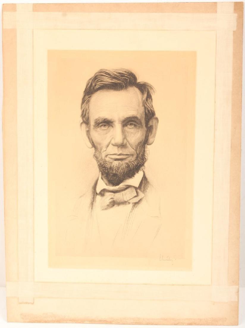 OTTO J SCHNEIDER ABRAHAM LINCOLN ETCHING