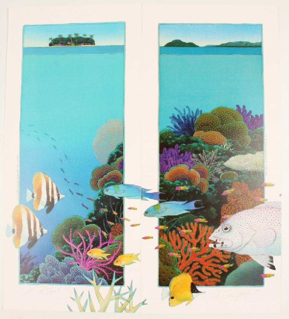PAIR OF SIGNED BARRIER REEF ART PRINTS