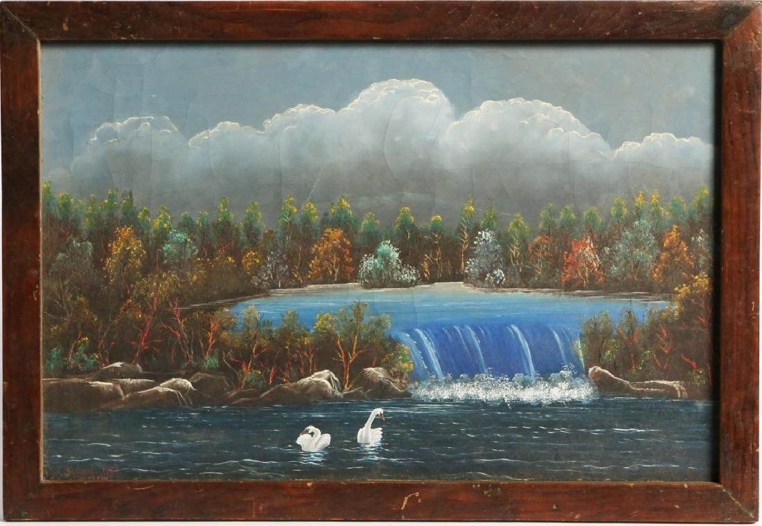 JULIAN NEMETHY SWAN LANDSCAPE OIL ON CANVAS