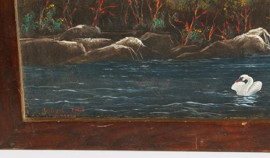 JULIAN NEMETHY SWAN LANDSCAPE OIL ON CANVAS - 3