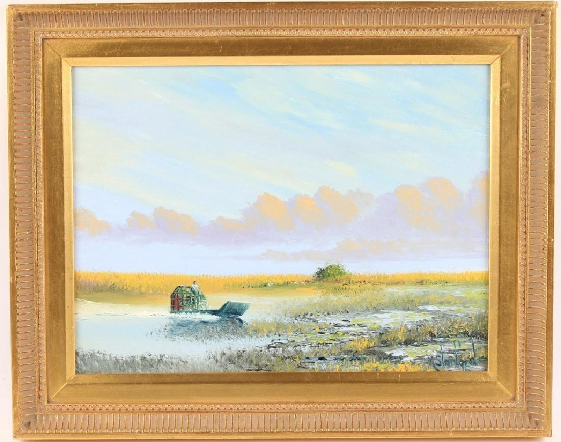 MARK STANFORD FLORIDA MARSH AIRBOAT OIL ON CANVAS